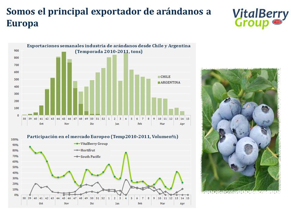 Somos el principal exportador de arándanos a Europa Participación en el mercado Europeo (Temp2010-2011, Volumen%) Exportaciones semanales industria de