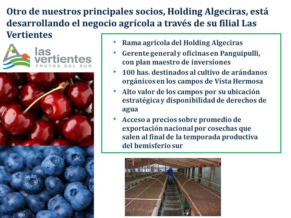 Otro de nuestros principales socios, Holding Algeciras, está desarrollando el negocio agrícola a través de su filial Las Vertientes Rama agrícola del
