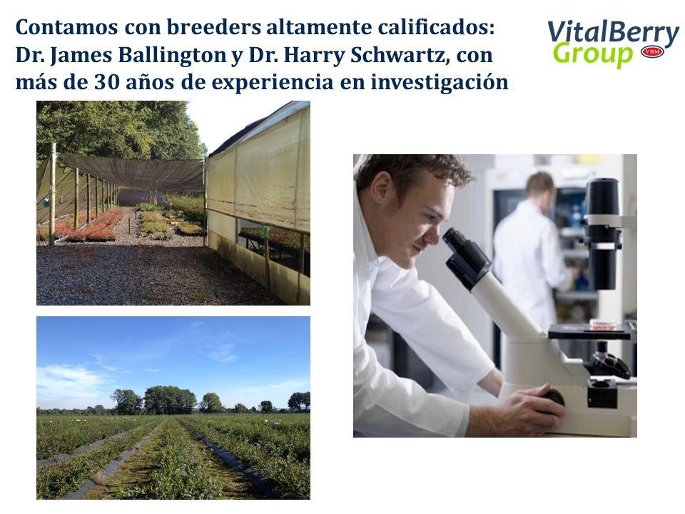 Contamos con breeders altamente calificados: Dr. James Ballington y Dr. Harry Schwartz, con más de 30 años de experiencia en investigación