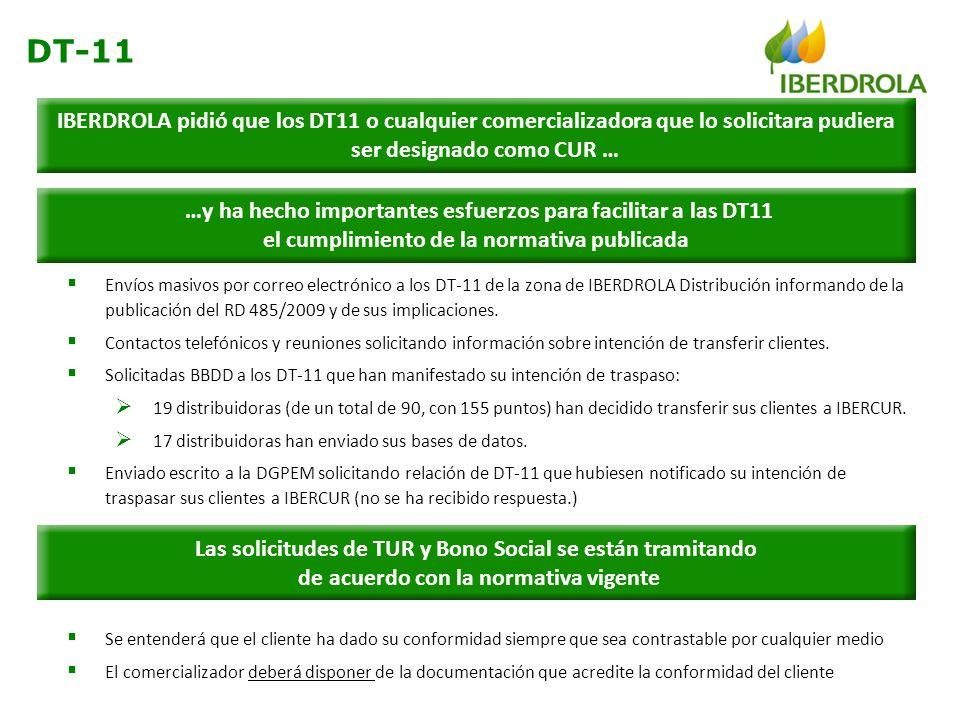 Envíos masivos por correo electrónico a los DT-11 de la zona de IBERDROLA Distribución informando de la publicación del RD 485/2009 y de sus implicaci