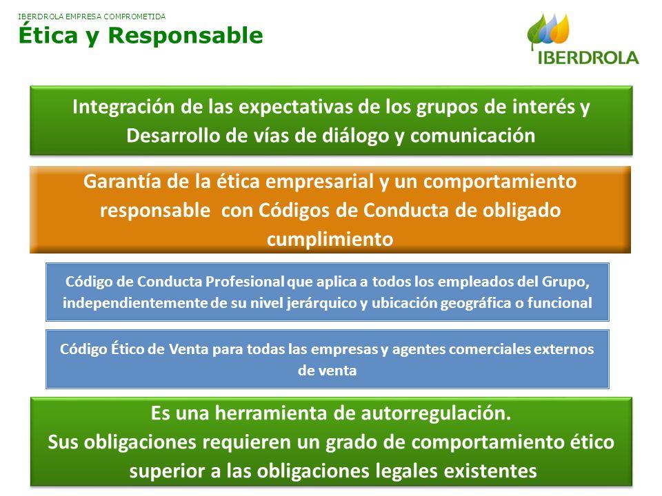 IBERDROLA EMPRESA COMPROMETIDA Ética y Responsable Integración de las expectativas de los grupos de interés y Desarrollo de vías de diálogo y comunica
