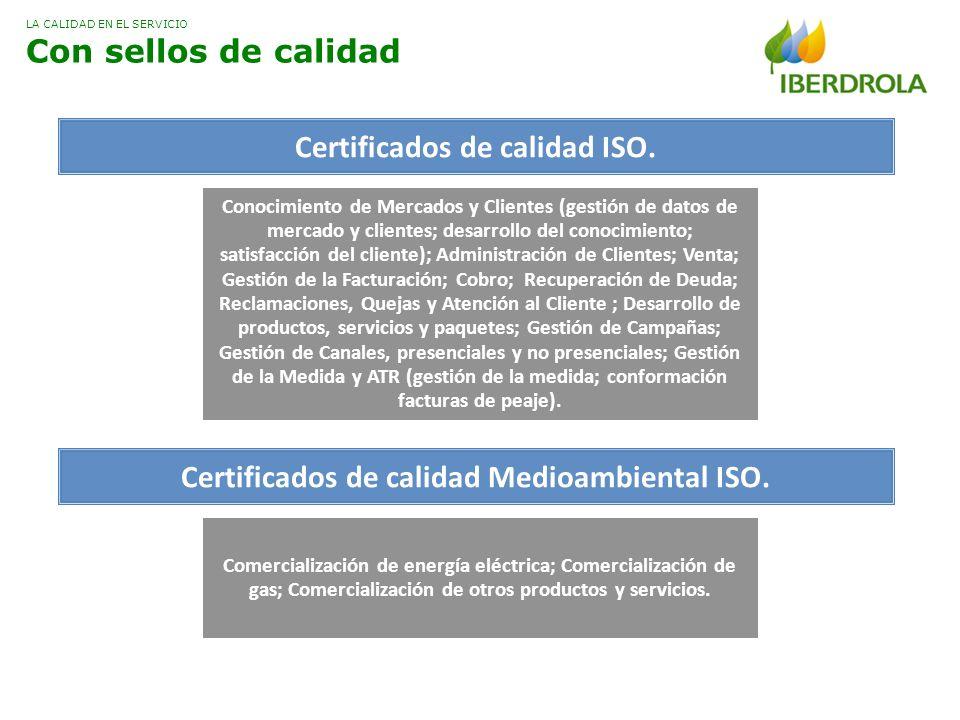 Certificados de calidad ISO. Certificados de calidad Medioambiental ISO. Comercialización de energía eléctrica; Comercialización de gas; Comercializac