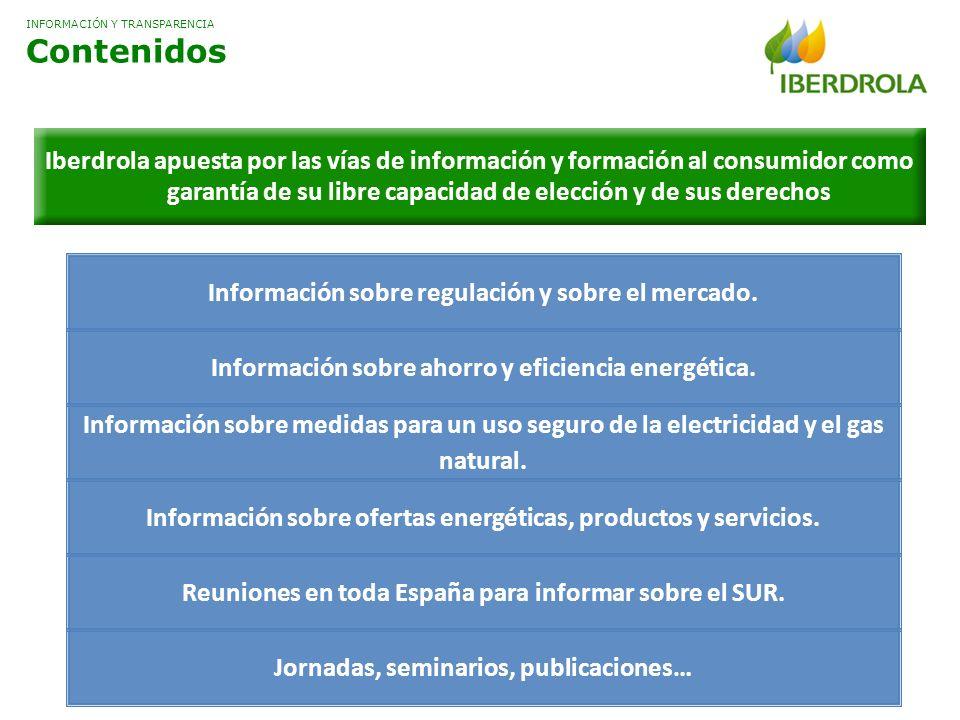 Información sobre regulación y sobre el mercado. Información sobre ahorro y eficiencia energética. Información sobre medidas para un uso seguro de la