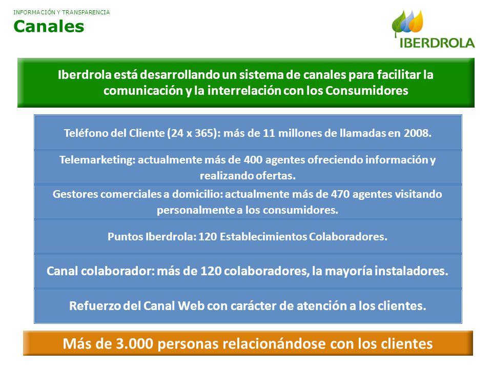 Iberdrola está desarrollando un sistema de canales para facilitar la comunicación y la interrelación con los Consumidores Teléfono del Cliente (24 x 365): más de 11 millones de llamadas en 2008.