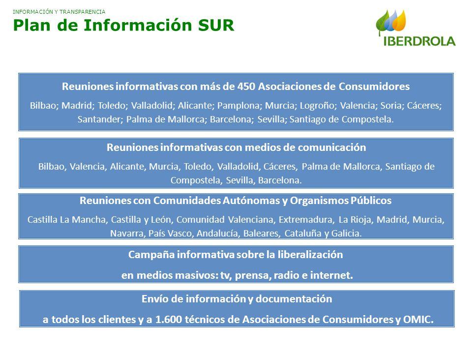 INFORMACIÓN Y TRANSPARENCIA Plan de Información SUR Reuniones informativas con más de 450 Asociaciones de Consumidores Bilbao; Madrid; Toledo; Vallado
