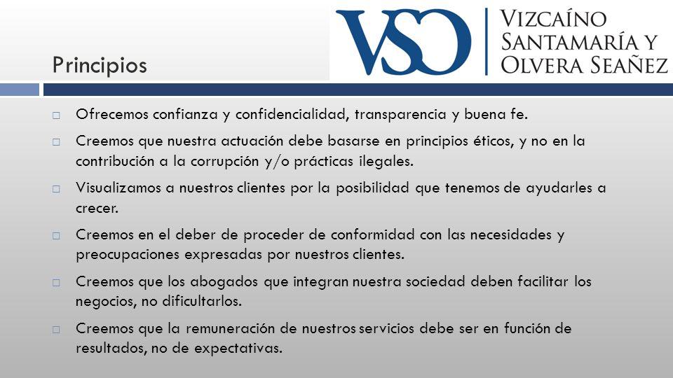Áreas de Especialización En razón de su trayectoria laboral individual, los abogados que conforman VSO, S.C.
