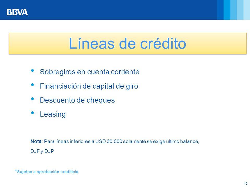 10 * Sujetos a aprobación crediticia Líneas de crédito Sobregiros en cuenta corriente Financiación de capital de giro Descuento de cheques Leasing Not