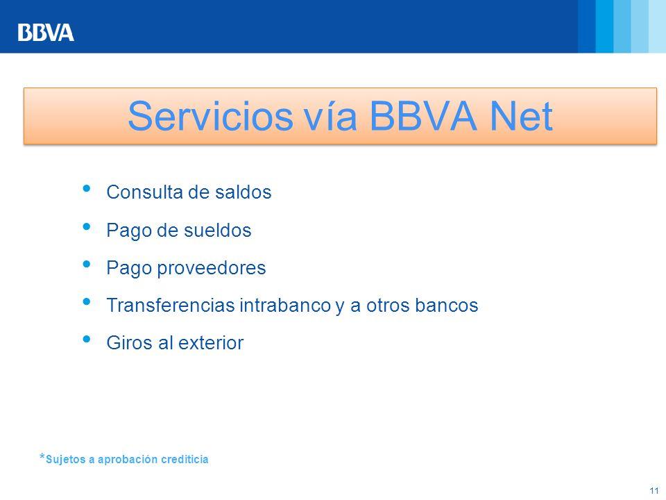 11 * Sujetos a aprobación crediticia Servicios vía BBVA Net Consulta de saldos Pago de sueldos Pago proveedores Transferencias intrabanco y a otros ba