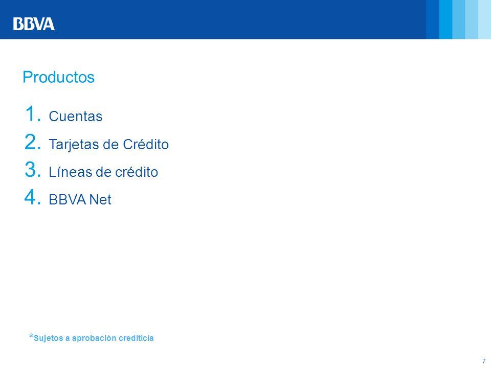 7 * Sujetos a aprobación crediticia Productos 1. Cuentas 2. Tarjetas de Crédito 3. Líneas de crédito 4. BBVA Net