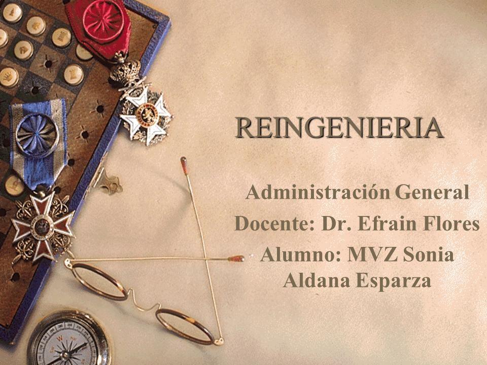 REINGENIERIA Administración General Docente: Dr. Efrain Flores Alumno: MVZ Sonia Aldana Esparza