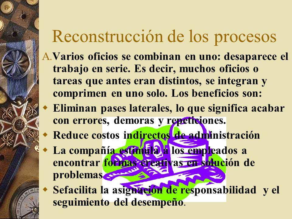 Reconstrucción de los procesos A.Varios oficios se combinan en uno: desaparece el trabajo en serie.