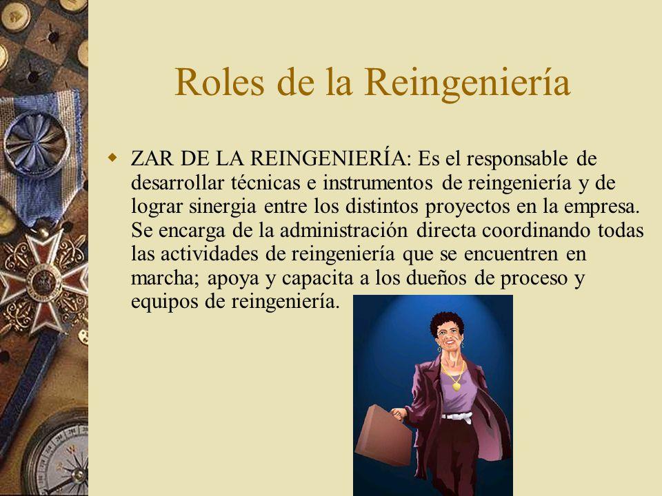 Roles de la Reingeniería ZAR DE LA REINGENIERÍA: Es el responsable de desarrollar técnicas e instrumentos de reingeniería y de lograr sinergia entre los distintos proyectos en la empresa.