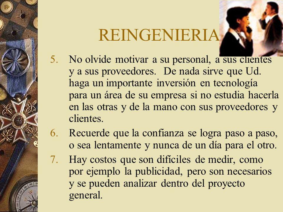 REINGENIERIA 5.No olvide motivar a su personal, a sus clientes y a sus proveedores.