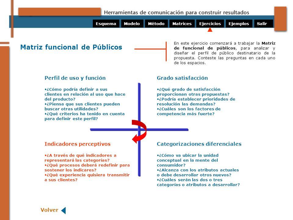 Matriz funcional de Públicos Perfil de uso y función ¿Cómo podría definir a sus clientes en relación al uso que hace del producto? ¿Piensa que sus cli