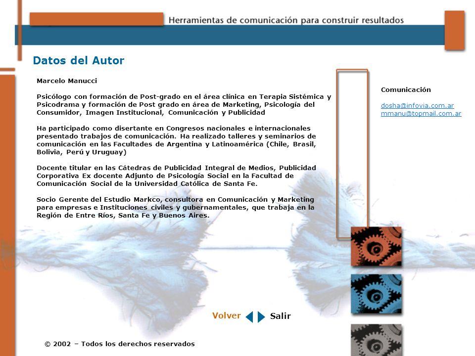 © 2002 – Todos los derechos reservados Datos del Autor Marcelo Manucci Psicólogo con formación de Post-grado en el área clínica en Terapia Sistémica y