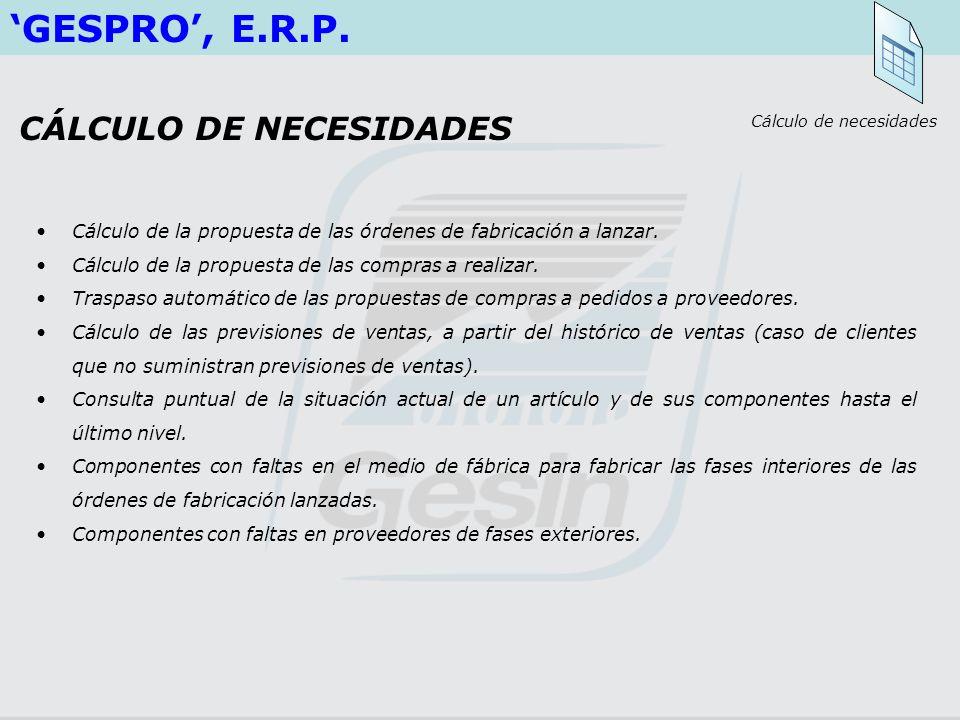 GESPRO, E.R.P. Cálculo de la propuesta de las órdenes de fabricación a lanzar. Cálculo de la propuesta de las compras a realizar. Traspaso automático