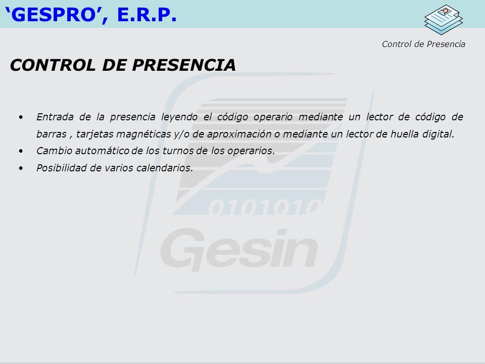 GESPRO, E.R.P.