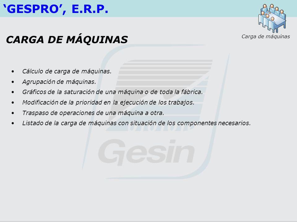 GESPRO, E.R.P. Cálculo de carga de máquinas. Agrupación de máquinas. Gráficos de la saturación de una máquina o de toda la fábrica. Modificación de la