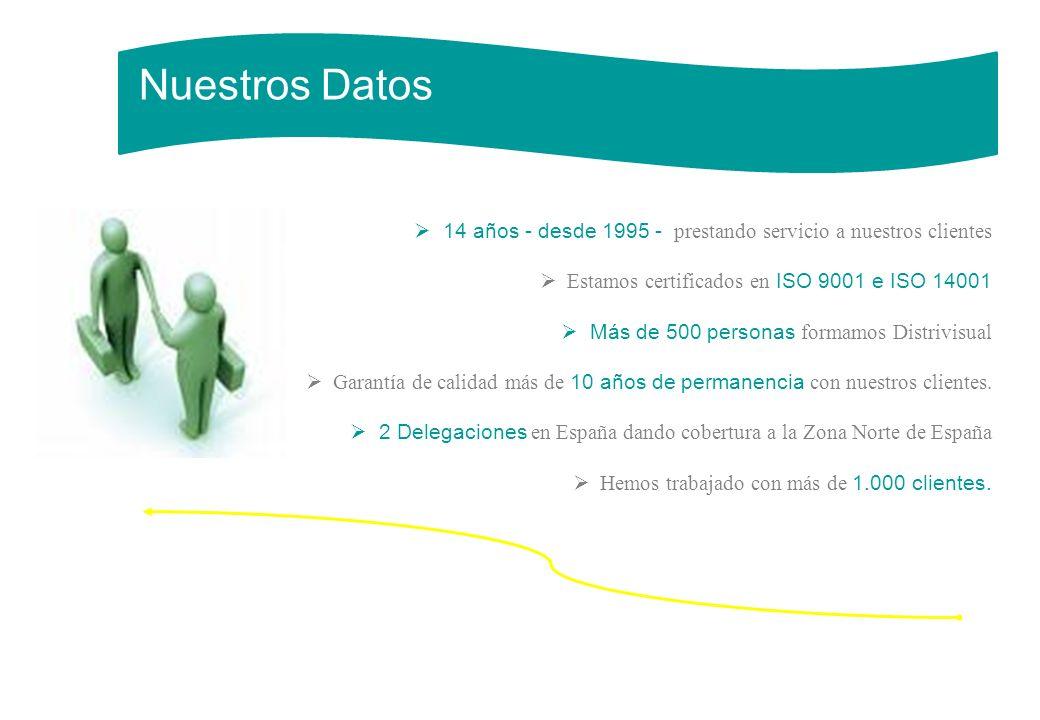 14 años - desde 1995 - prestando servicio a nuestros clientes Estamos certificados en ISO 9001 e ISO 14001 Más de 500 personas formamos Distrivisual G