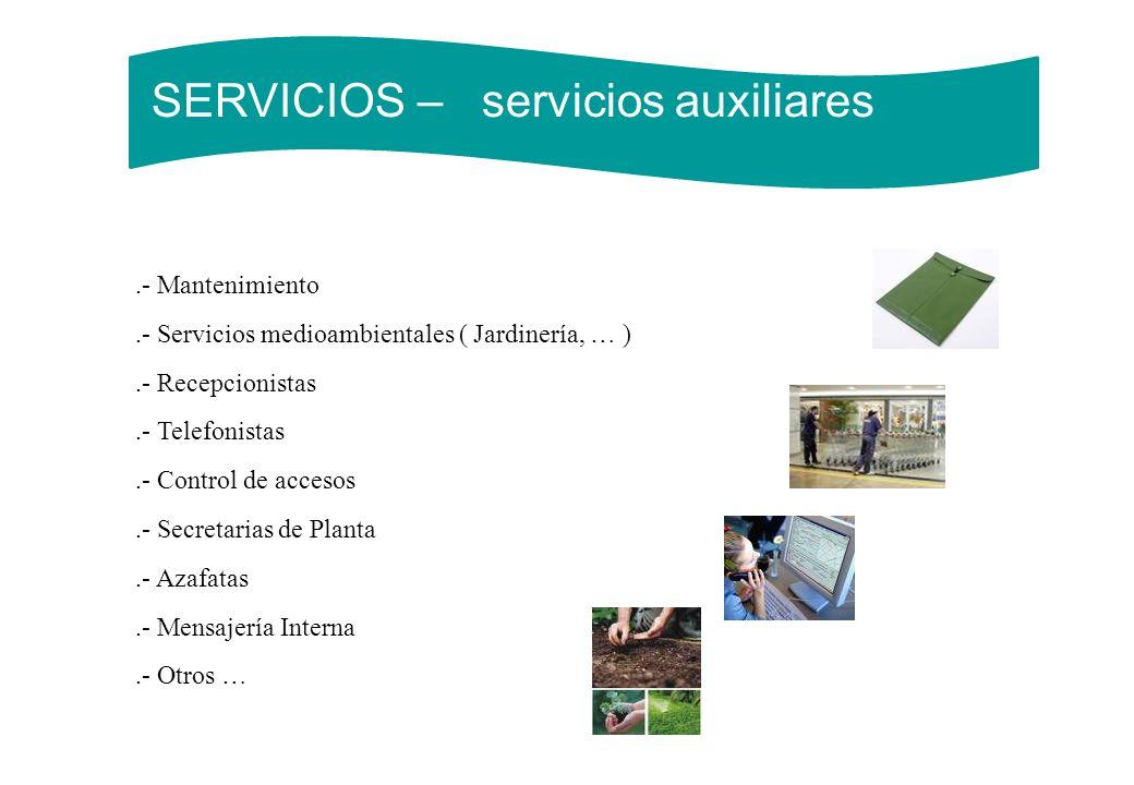 SERVICIOS – servicios auxiliares.- Mantenimiento.- Servicios medioambientales ( Jardinería, … ).- Recepcionistas.- Telefonistas.- Control de accesos.-