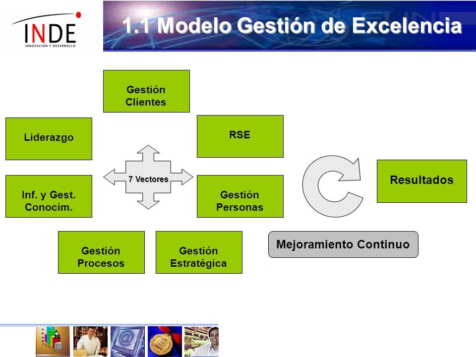 1.1 Modelo Gestión de Excelencia 7 Vectores 7 Vectores Gestión Estratégica Gestión Procesos Inf.
