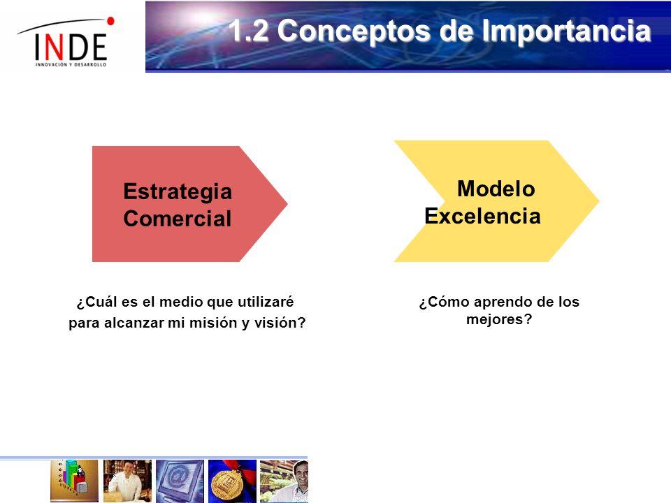 1.2 Conceptos de Importancia Estrategia Comercial Modelo Excelencia ¿Cuál es el medio que utilizaré para alcanzar mi misión y visión.