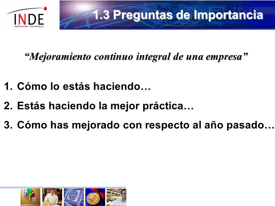 1.3 Preguntas de Importancia Mejoramiento continuo integral de una empresa 1.