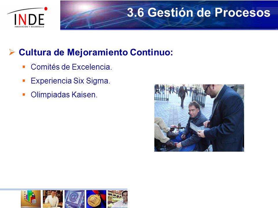 3.6 Gestión de Procesos Cultura de Mejoramiento Continuo: Comités de Excelencia.