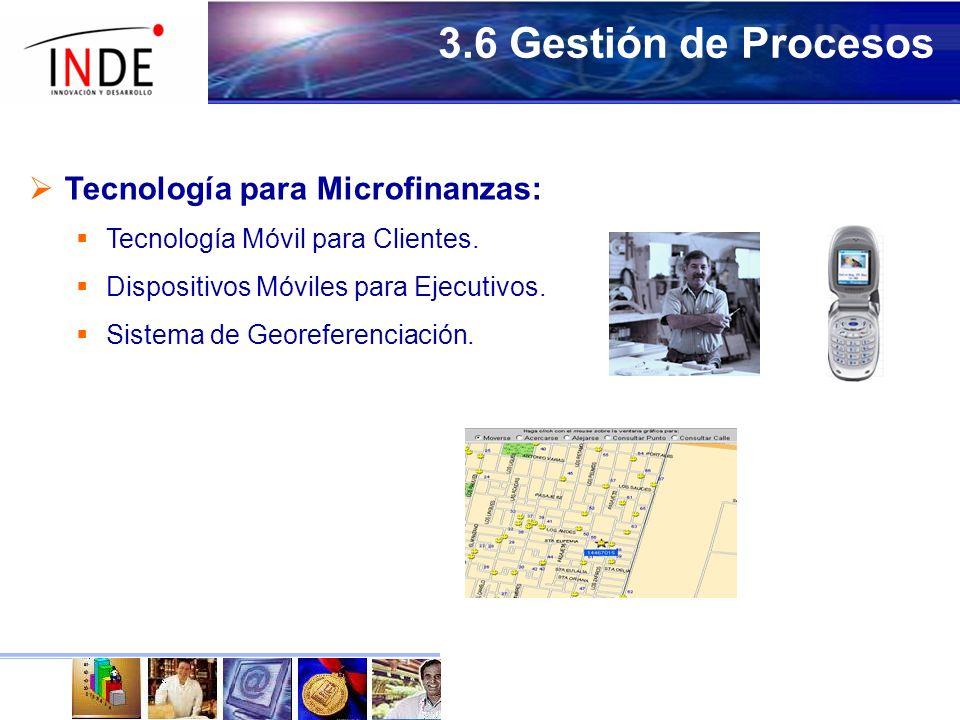 3.6 Gestión de Procesos Tecnología para Microfinanzas: Tecnología Móvil para Clientes.