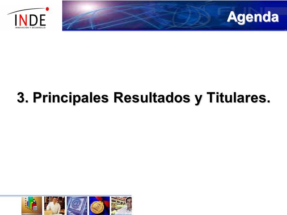 3. Principales Resultados y Titulares. Agenda