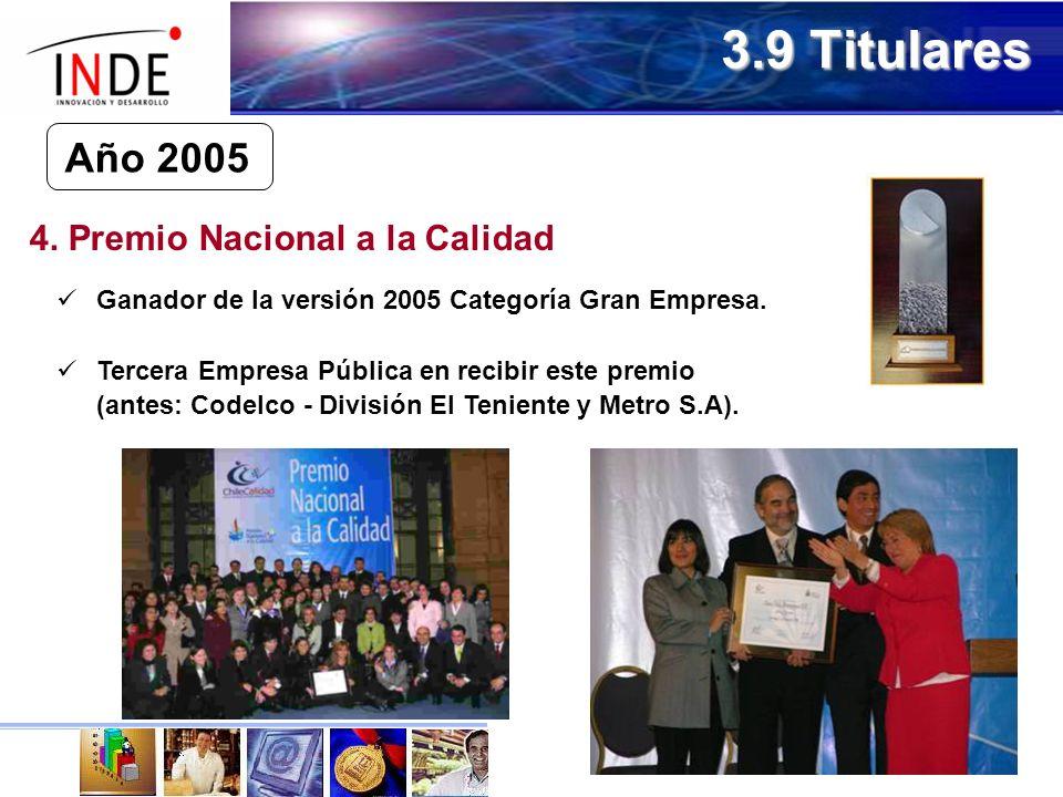 Año 2005 4.Premio Nacional a la Calidad Ganador de la versión 2005 Categoría Gran Empresa.