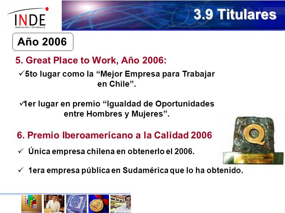 6.Premio Iberoamericano a la Calidad 2006 Única empresa chilena en obtenerlo el 2006.