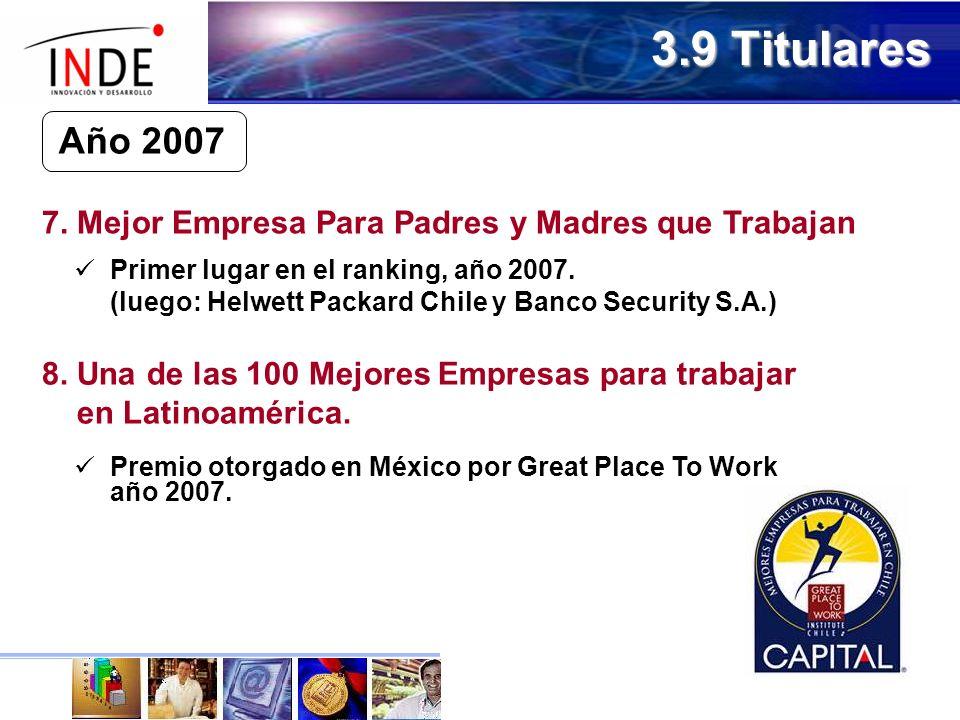 3.9 Titulares Primer lugar en el ranking, año 2007.
