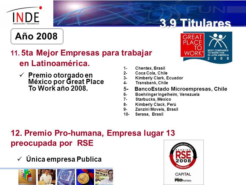 3.9 Titulares Año 2008 11.5ta Mejor Empresas para trabajar en Latinoamérica.
