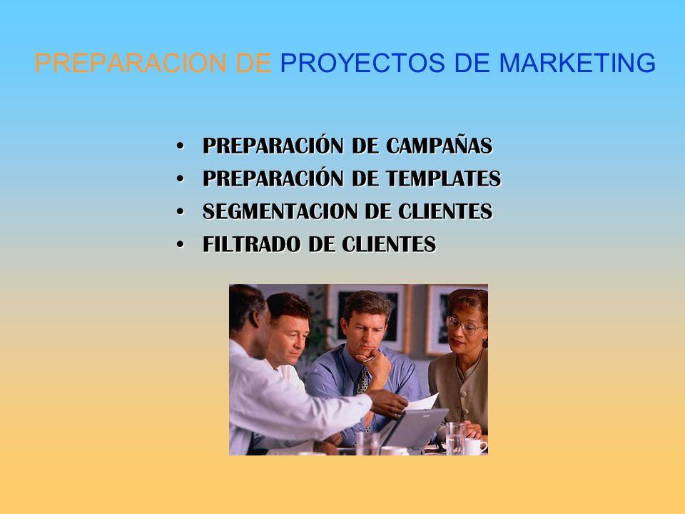 PREPARACION DE PROYECTOS DE MARKETING PREPARACIÓN DE CAMPAÑASPREPARACIÓN DE CAMPAÑAS PREPARACIÓN DE TEMPLATESPREPARACIÓN DE TEMPLATES SEGMENTACION DE