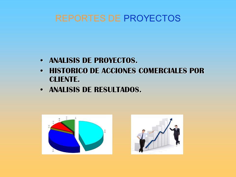 REPORTES DE PROYECTOS ANALISIS DE PROYECTOS.ANALISIS DE PROYECTOS. HISTORICO DE ACCIONES COMERCIALES POR CLIENTE.HISTORICO DE ACCIONES COMERCIALES POR