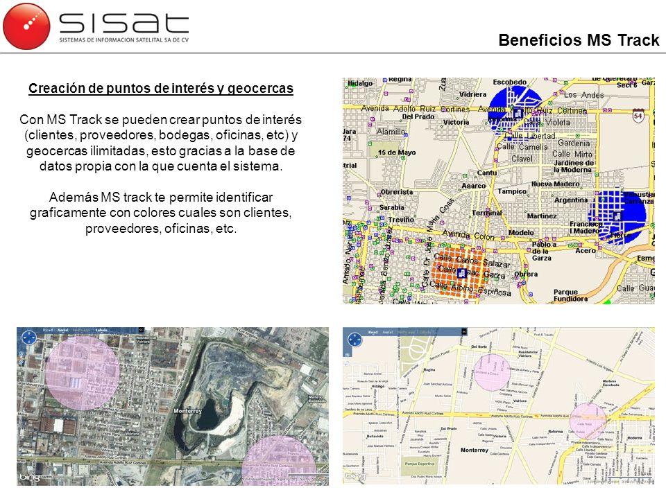 Creación de puntos de interés y geocercas Con MS Track se pueden crear puntos de interés (clientes, proveedores, bodegas, oficinas, etc) y geocercas i