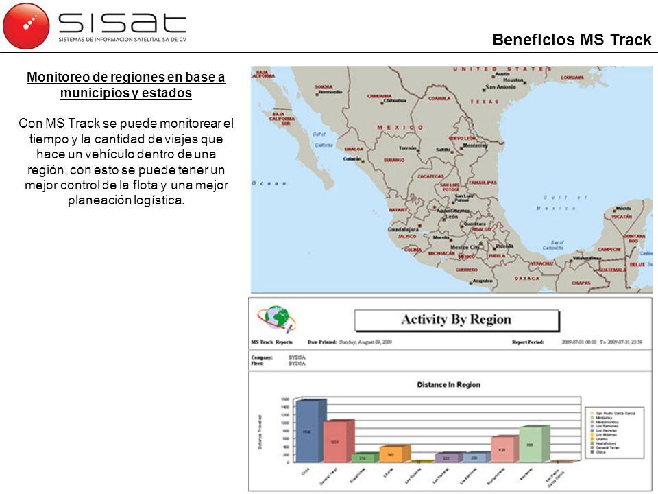 Monitoreo de regiones en base a municipios y estados Con MS Track se puede monitorear el tiempo y la cantidad de viajes que hace un vehículo dentro de