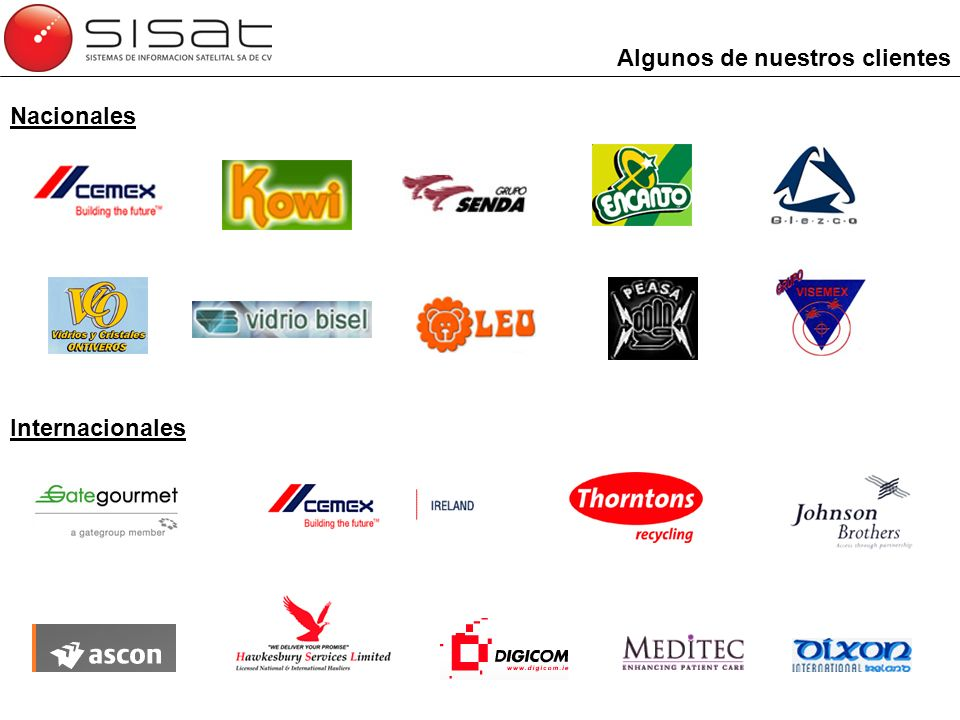 Algunos de nuestros clientes Nacionales Internacionales
