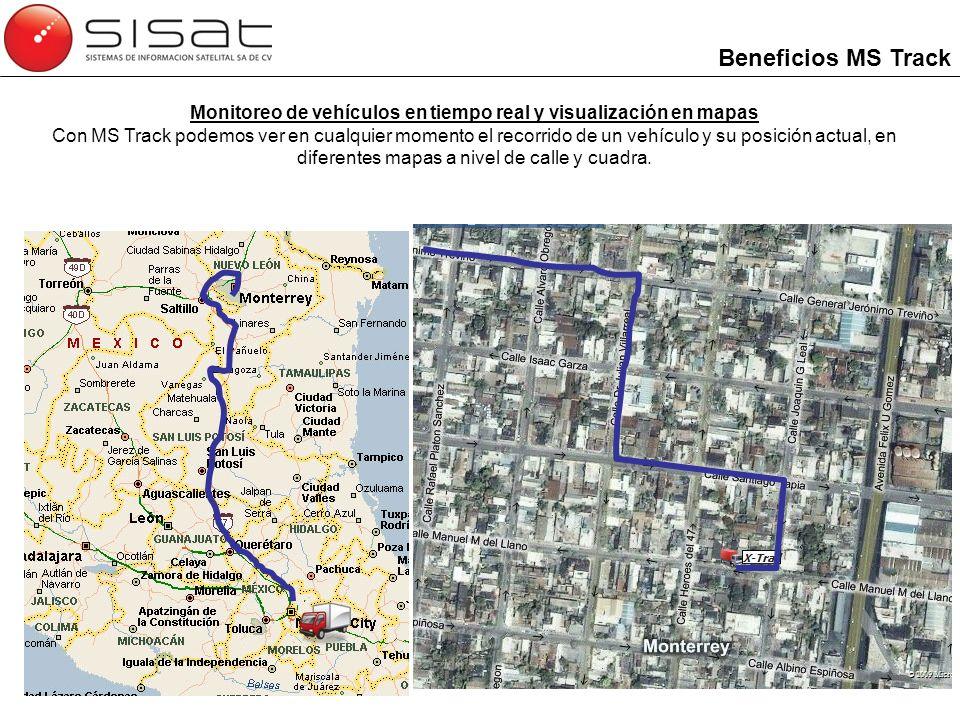 Monitoreo de vehículos en tiempo real y visualización en mapas Con MS Track podemos ver en cualquier momento el recorrido de un vehículo y su posición