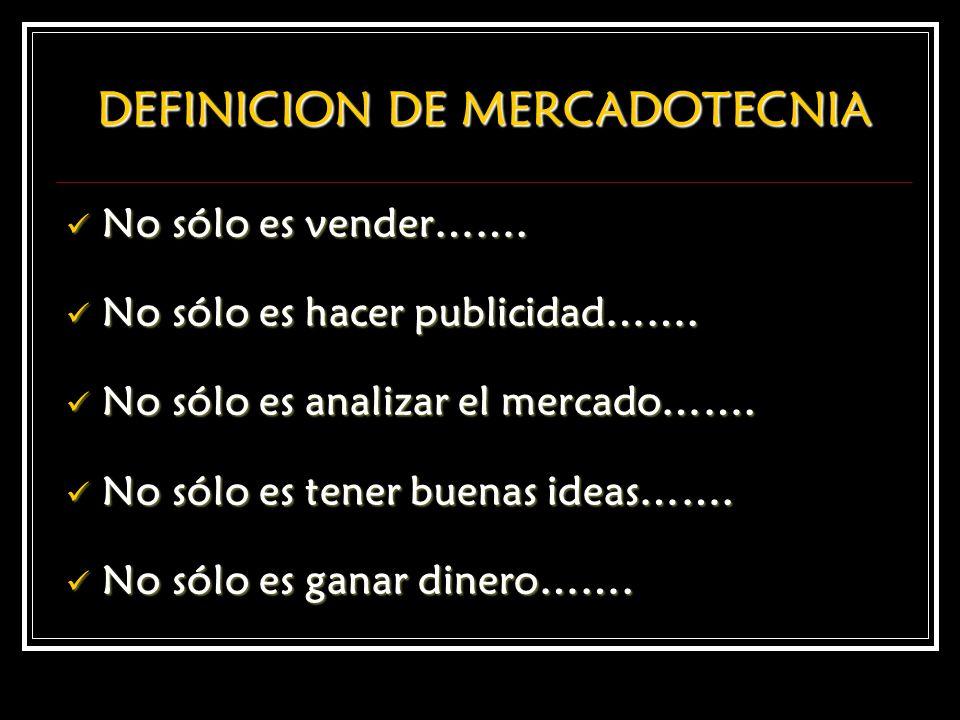 DEFINICION DE MERCADOTECNIA No sólo es vender……. No sólo es vender……. No sólo es hacer publicidad……. No sólo es hacer publicidad……. No sólo es analiza