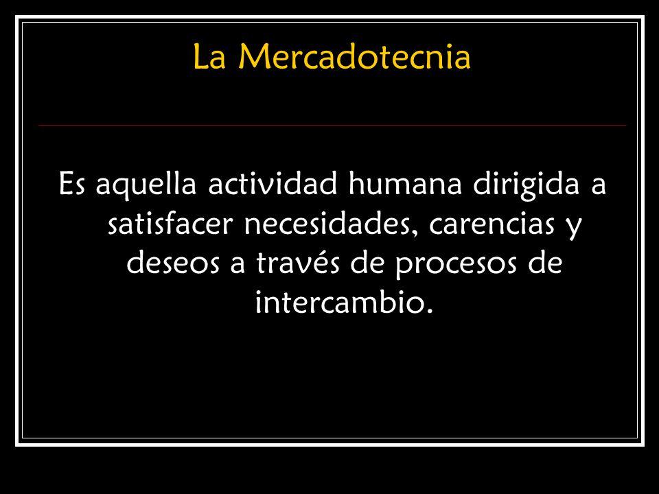 La Mercadotecnia Es aquella actividad humana dirigida a satisfacer necesidades, carencias y deseos a través de procesos de intercambio.