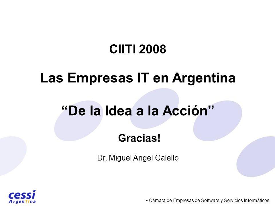 Cámara de Empresas de Software y Servicios Informáticos CIITI 2008 Las Empresas IT en Argentina De la Idea a la Acción Gracias.