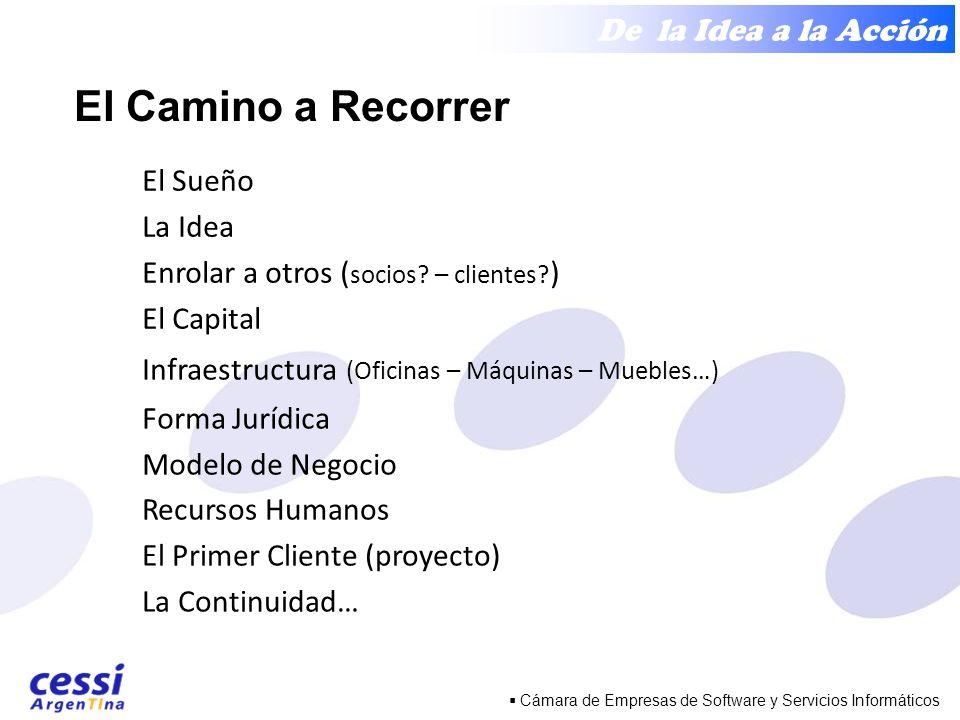 De la Idea a la Acción Cámara de Empresas de Software y Servicios Informáticos El Camino a Recorrer El Sueño La Idea Enrolar a otros ( socios.