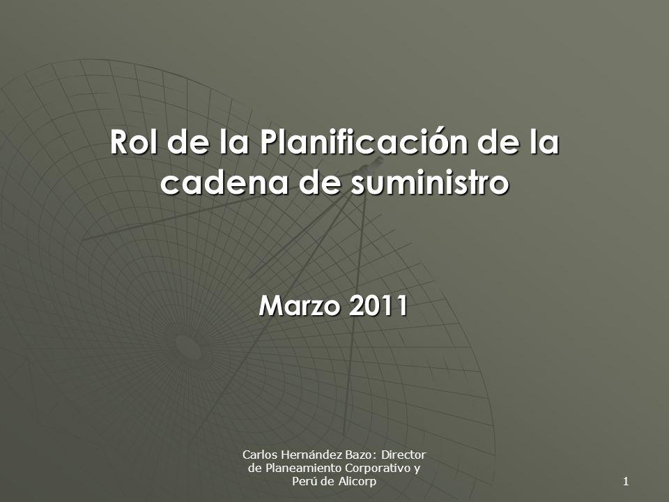 Carlos Hernández Bazo: Director de Planeamiento Corporativo y Perú de Alicorp 1 Rol de la Planificaci ó n de la cadena de suministro Marzo 2011