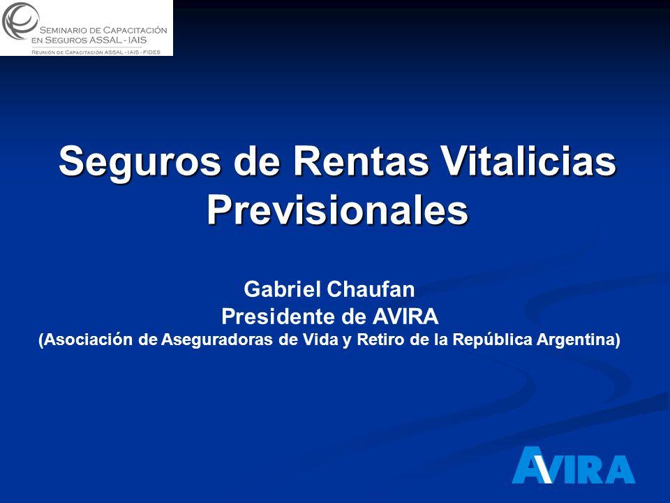 Seguros de Rentas Vitalicias Previsionales Gabriel Chaufan Presidente de AVIRA (Asociación de Aseguradoras de Vida y Retiro de la República Argentina)