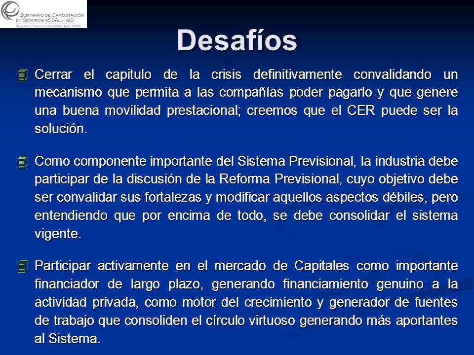Desafíos 4Cerrar el capitulo de la crisis definitivamente convalidando un mecanismo que permita a las compañías poder pagarlo y que genere una buena movilidad prestacional; creemos que el CER puede ser la solución.