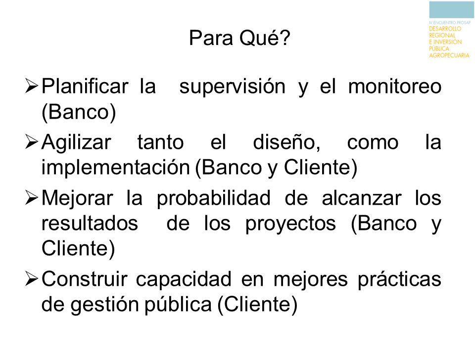 Para Qué? Planificar la supervisión y el monitoreo (Banco) Agilizar tanto el diseño, como la implementación (Banco y Cliente) Mejorar la probabilidad