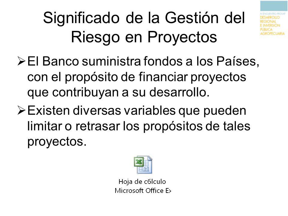 Significado de la Gestión del Riesgo en Proyectos El Banco suministra fondos a los Países, con el propósito de financiar proyectos que contribuyan a s