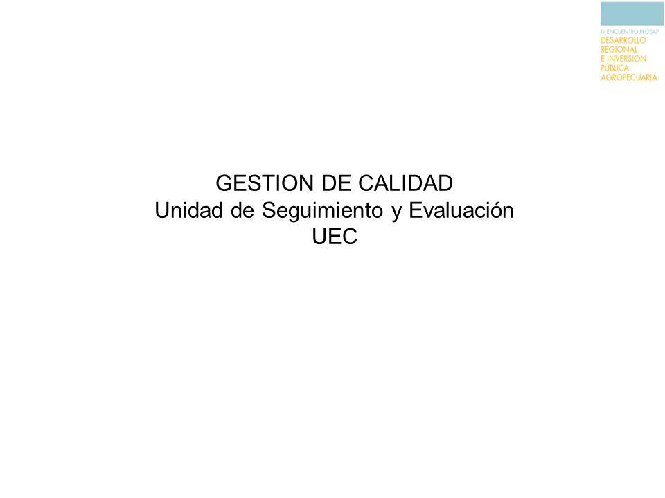 GESTION DE CALIDAD Unidad de Seguimiento y Evaluación UEC